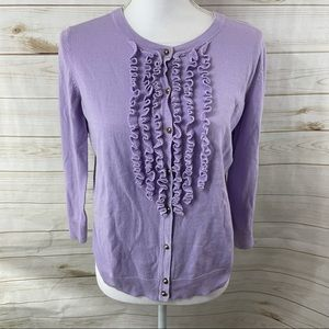 Talbots Purple Ruffle Cardigan Sweater